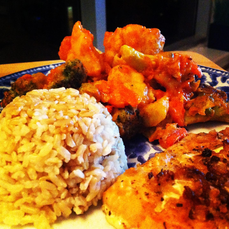 cauliflower, recipes, healthy recipes, fish, rice, shortcut recipes