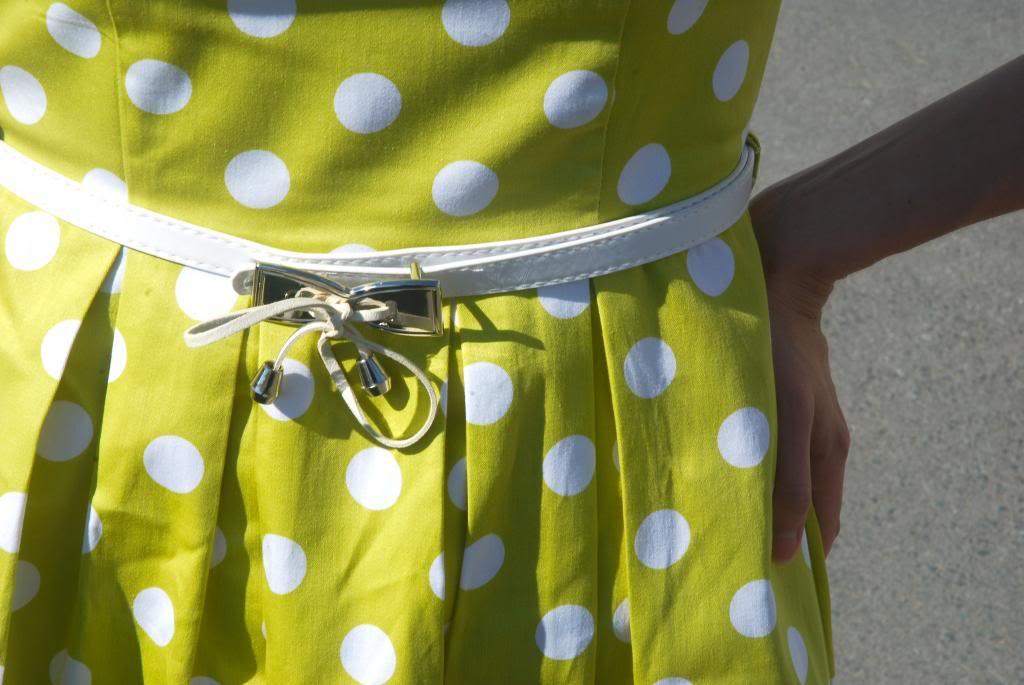 50s style dresses, vintage, polka dots, chatreuse, polka dot, longhair, ombre, joe fresh sunglasses, sunnies,