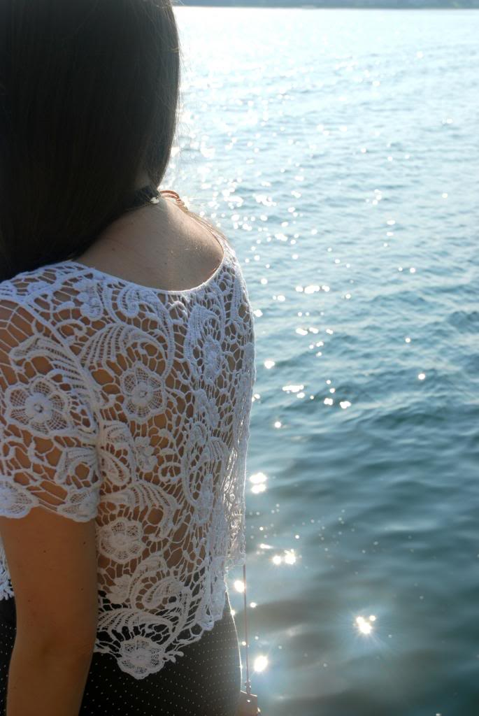lace crop top, lace, white, summer, canadain blogger, , polka dot, longhair, ombre, joe fresh sunglasses, sunnies, adorn by sarah lewis