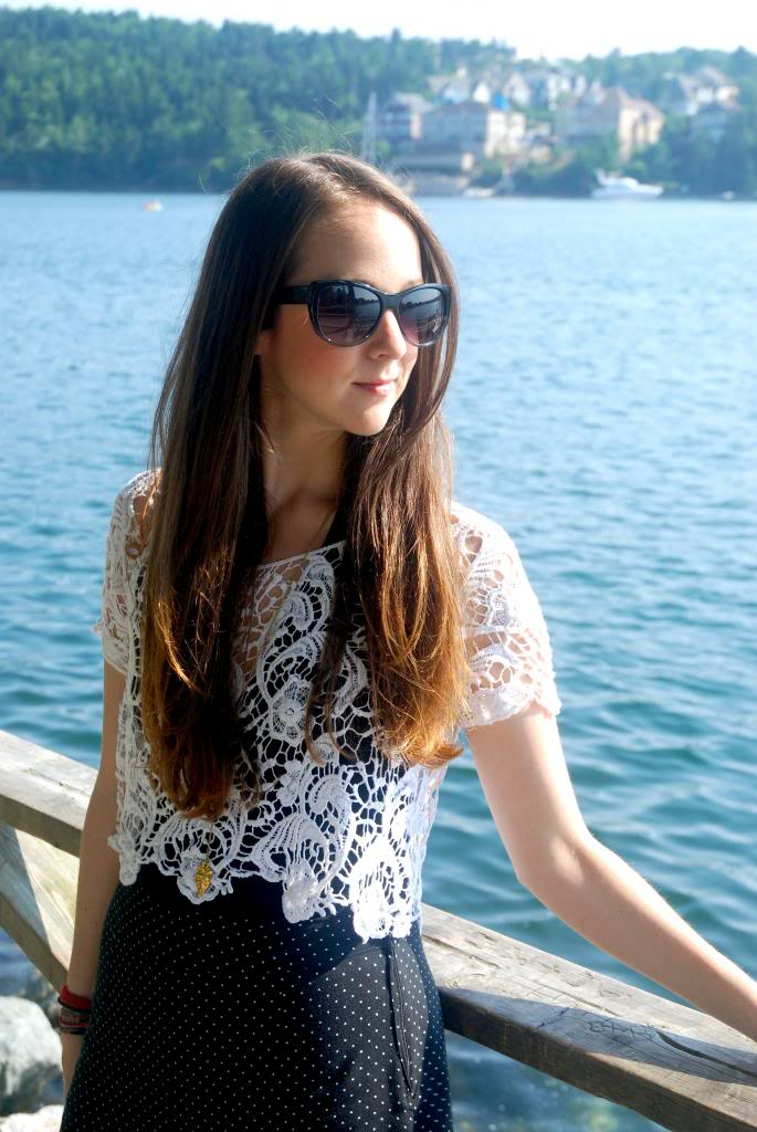 canadain blogger, crop top, lace, polka dot, longhair, ombre, joe fresh sunglasses, sunnies, adorn by sarah lewis