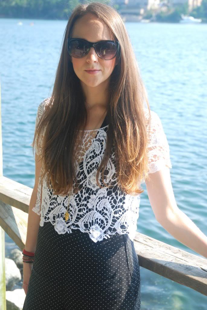 lace, lace crop top, open back, bodysuits, , polka dot, longhair, ombre, joe fresh sunglasses, sunnies, adorn by sarah lewis