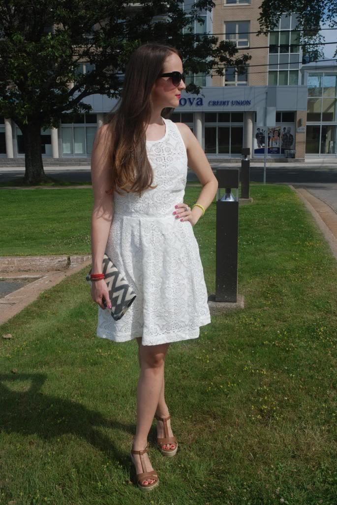 White Lace Dress, Neon, Exposed Zipper, White, Summer Looks, Sun Dresses, lipstick, nail polish, revon just bitten