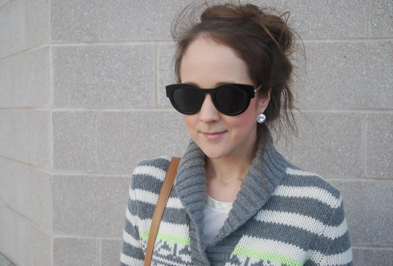 Gap Sweater, Joe Fresh Jeans, Banana Republic Tshirt, Polette Eyewear, Forever 21 bag