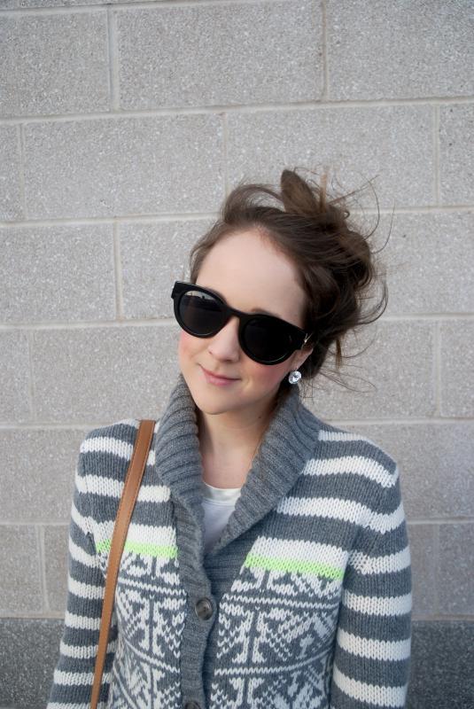 Earrings, Sunglasses, Messy Hair Don't Care, Joe Fresh Jeans, Rockport Boots