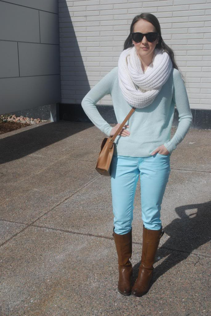 Gap Jeans, Banana Republic Scarf, Riding Boots, Cross-Body Bag, Smart Set Sweater, Pastels, Mint green, monochrome outfits.