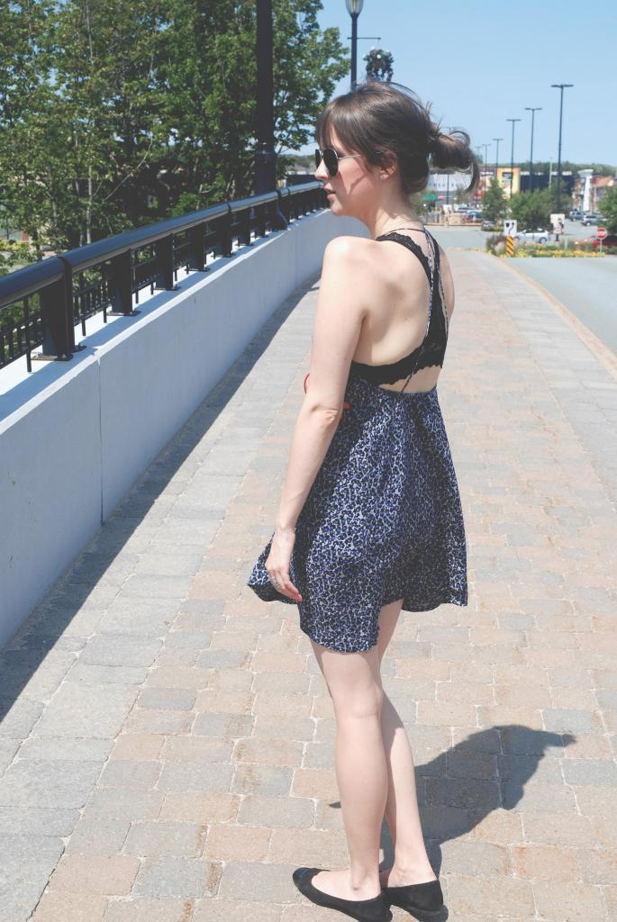 black lace bra, open back dress, floral dress, summer dresses, boho style, joe fresh, awfully pretty