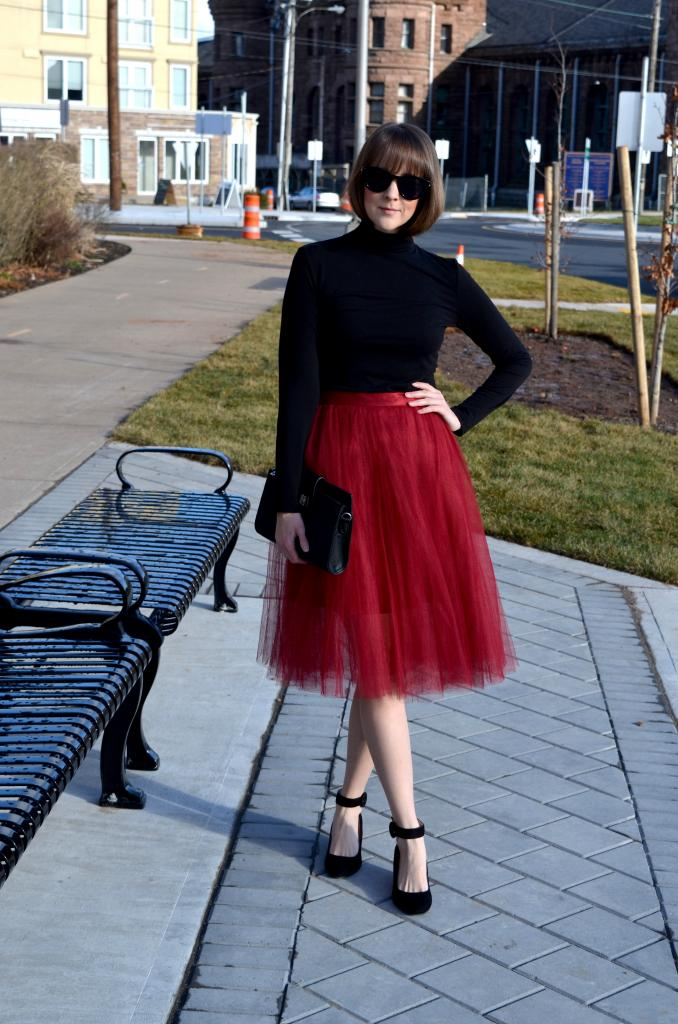merlot tulle skirt, that girl that loves, turtleneck