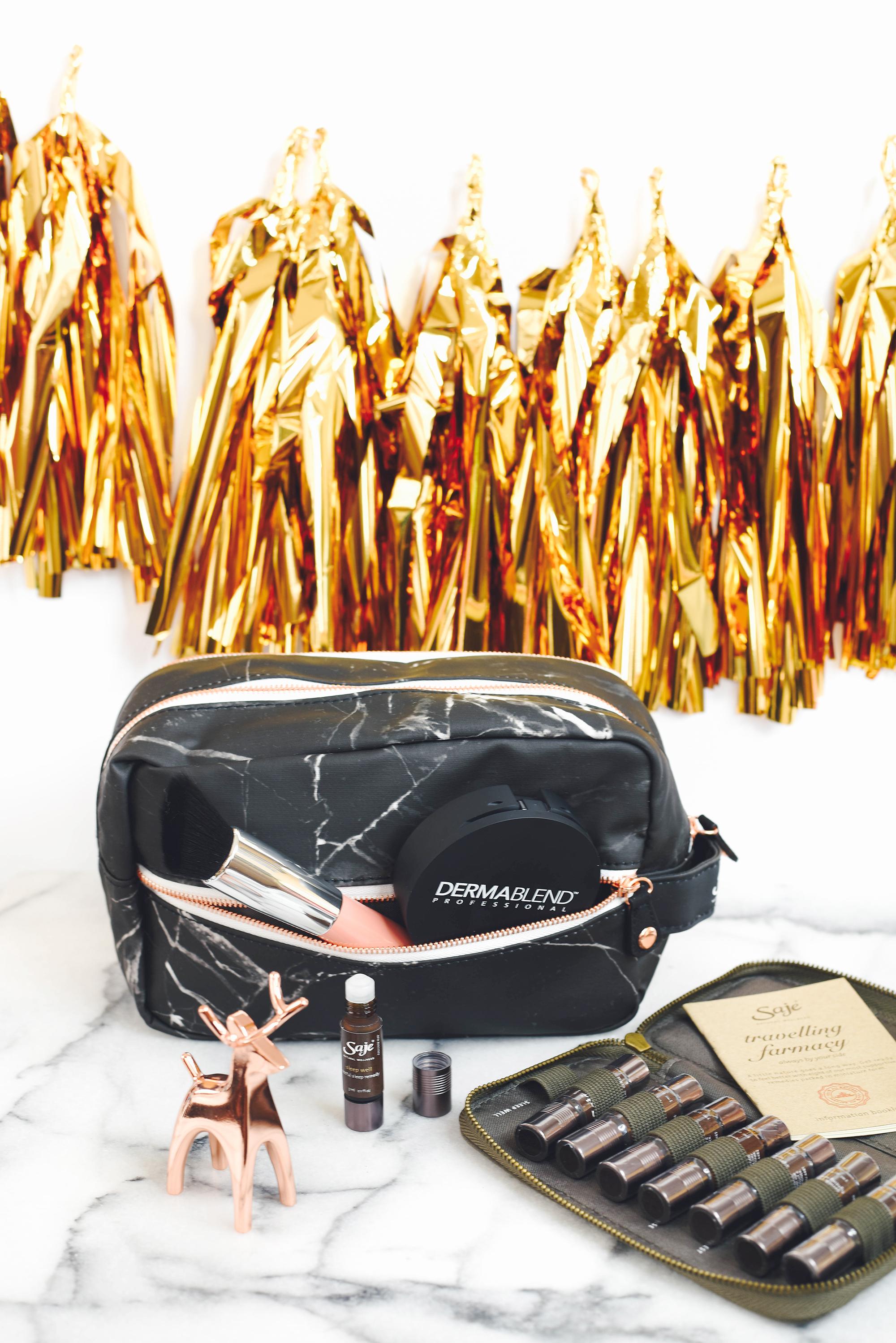 Saje Wellness bag, marble travel bag, cosmetic bag, marble bag